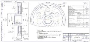 3.Деталировочный чертеж колеса массой 6.3, в масштабе 1:1