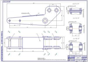 3.Сборочный чертеж рукоятки в двух проекциях (формат А1) с выносными разрезами, размерами и сварными швами