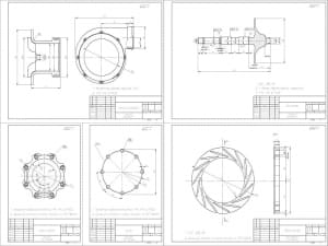 3.Чертеж деталировки турбокомпрессора: корпус компрессора, вал ротора, венец сопловой, щиток, корпус турбины (скомпонованы на формат А1)