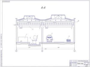 3.План цеха (2 лист) в поперечном разрезе. масштаб 1:100 (формат А1)