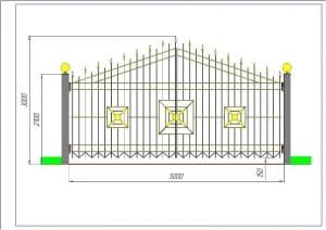3.Чертеж общего вида ворот в цвете, с указанием основных размеров (формат А1)