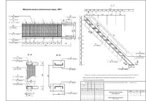 3.Чертеж СБ металлического лестничного марша МЛ-2, сечения, с техническими требованиями