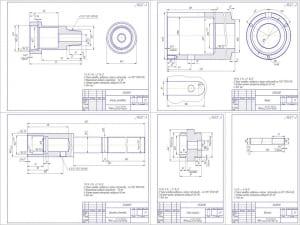 Деталировка 2ой лист (формат А1) (на листе представлены рабочие чертежи деталей: корпус резьбовой, корпус, шпиндель винтовой, гайка корпуса, шпилька).  Выполнена расстановка размеров, допусков, посадок и шероховатостей, указаны технические требования
