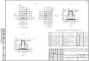35.Чертеж фундамента Ф-1 пристройки к существующим ремонтно-механическим мастерским со спецификацией на фундамент Ф-1 (формат А3)
