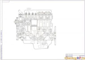 Общий чертеж двигателя продольный разрез в программе Компас (формат А1)