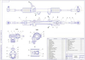 3.Сборочный чертеж рулевого механизма автомобиля ИЖ-2126 (формат А1)