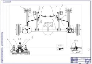 3.Монтажный чертеж задней подвески (зависимая на пневмостойках) (формат А1)