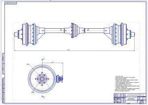 3.Сборочный чертеж заднего моста с бортовыми редукторами вездехода (формат А1)