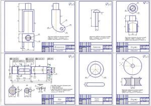 3.Деталировка конструкции (формат А1): кронштейн, заклепка, втулка, вал, резина колеса