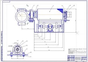 3.Сборочный чертеж приводного механизма стенда с подъемным роликом (формат А1)