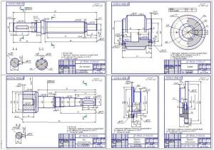 3.Деталировка конструкции – рабочие чертежи деталей: вал входной, червяк, вал промежуточный, крышка корпуса, крышка подшипника (формат А1)