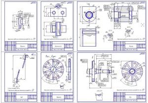 3.Рабочие чертежи деталей: крышка, кронштейн, корпус, вал, зуб (формат А1)