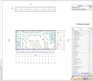Чертеж агрегатного участка АТП. На чертеже выполнена планировка оборудования. Отдельно приложена спецификация агрегатного участка АТП. На чертеже отмечены размеры агрегатного участка АТП. Масштаб чертежа 1:20 (формат А1)