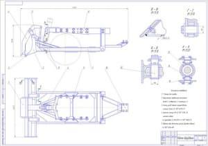 3.Сборочный чертеж рабочего оборудования бульдозера А1
