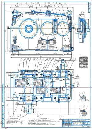 3.Редуктор цилиндрический двухступенчатый в сборе А1