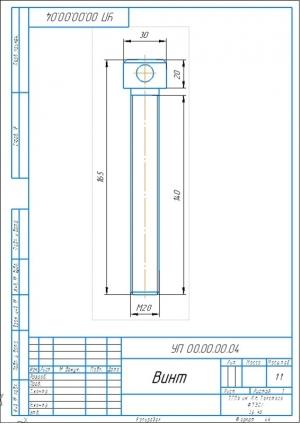 3.Рабочий чертеж детали винт А3