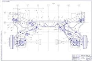 Сборочный чертеж вида сверху установки задней подвески.