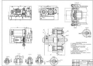 Чертеж привода механизма подъема, сборочный чертеж (формат А1).