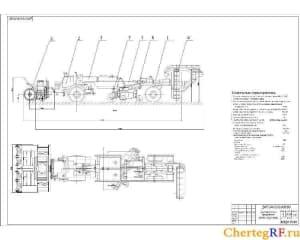 Общий чертеж фрезротора аэродромного снегоочистителя с техническими характеристиками