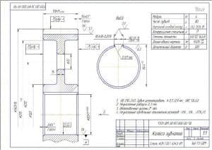 4.Детальный чертеж колеса зубчатого с техническими требованиями