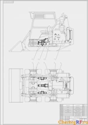 Компоновочный чертеж моторного отсека гидравлического погрузчика с указанием всех деталей (формат А1)