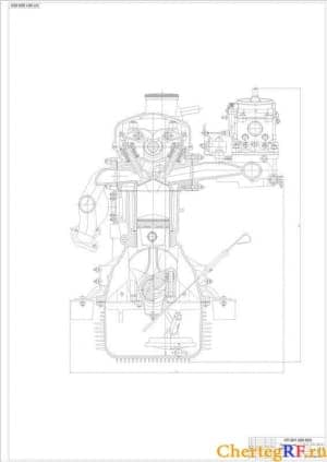 Двигателя, поперечный разрез (формат А1)