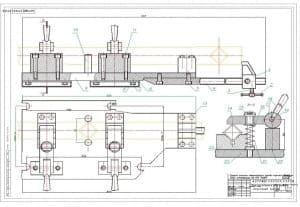 Сборочный чертеж приспособления для порезки. На чертеже обозначены размеры приспособления, чертеж представлен в разных проекциях. Масштаб чертежа 1:1 (формат А1)