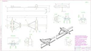 4.Чертеж сборочный металлоконструкции крана мостового электрического подвесного массой 700, в масштабе 1:10