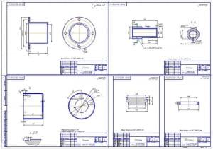 4.Деталировка конструкции (общий формат А1): стаканы, фланцы, поршень