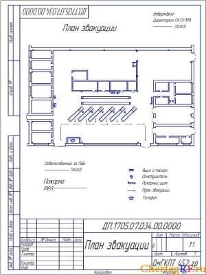 Чертеж плана эвакуации. На чертеже имеются условные обозначения; ящик с песком; огнетушитель; пожарный щит; путь эвакуации; телефон. На чертеже сделаны отметке об утверждении плана эвакуации, ответственного. Чертеж выполнен масштабом 1:1 (формат А4)