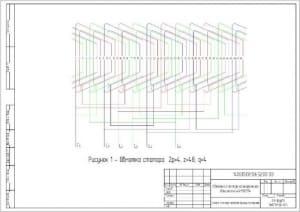 4.Чертеж обмотки статора асинхронного двигателя 4АН180М4 (формат А 3)