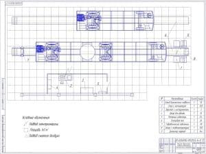 Чертеж технологической планировки участка диагностики подвески автомобиля
