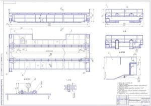 Чертеж металлоконструкции с внешними размерами и требованиями к сборке  (формат А1)