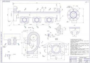 5.Чертеж деталировки коллектора напорного массой 86, в масштабе 1:2 (материал: 35ХМЛ КТ55 Г0СТ 977-88), с указанными размерами для справок и с техническими требованиями: отливка второй группы Г0СТ 977-88, точность отливки 12-0-0-12 Г0СТ26645-85, литейные