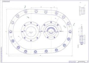 5.Чертеж сборочный главного редуктора вертолета с указанием деталей и размеров и с детальным рассмотрением креплений (формат А1)