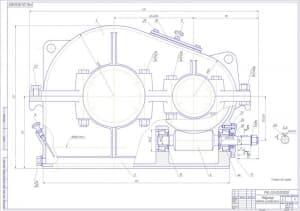 5.Чертеж сборочный редуктора червячно-цилиндрического с указанными позициями деталей и размерами для справок (формат А1)