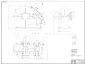 5.Сборочный чертеж редуктора цилиндрического одноступенчатого в масштабе 1:1