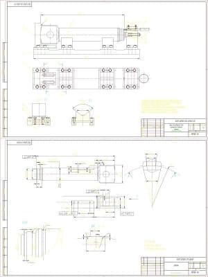 Чертеж деталировка (приспособление для контроля биения торца, шток). Сборочный чертеж приспособления для контроля биения торца с техническими характеристиками: 1. Допуск перпендикулярности поверхности. В относительно общей плоскости симметрии призматическ