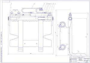 5.СБ каретки смещения электропогрузчика в масштабе 1:2, в двух проекциях – виды сбоку и спереди, с указанными деталями и размерами (формат А1)
