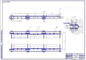 5.Ходовая часть конвейера в сборе (формат А1) в двух проекциях с габаритными и присоединительными размерами