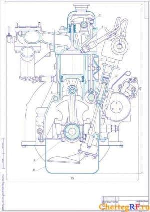 Чертеж продольного разреза аналога двигателя ЗМЗ-402 d 92 h92 Lц 170 (формат А1)