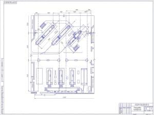 Планировка мастерской. На чертеже отражены данные о размерах планировки и указаны смежные помещения. Чертеж представлен в масштабе 1:75 (формат А1)