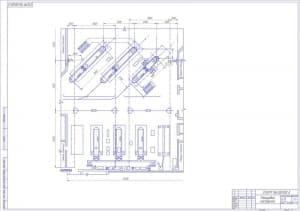 Чертеж планировки мастерской в масштабе 1:75, с указанием размеров (формат А1)