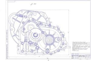 Сборочный чертеж коробки передач. Прописаны технические указания по сборке КП. Обозначено положение разреза, который должен быть на листе 2. Проставлены некоторые конструкционные размеры (формат А1)