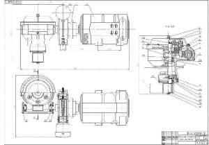 Сборочный чертеж поворотного механизма с указанием внешних размеров и деталей (формат А1)