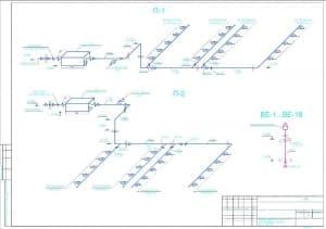 6.Чертеж схем приточных систем П-1, П-2, вытяжных систем ВЕ-1…ВЕ-18 (формат А2)