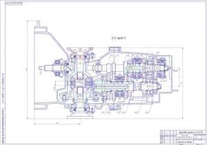 Чертеж сечения по валам коробки передач переднеприводного автомобиля с продольным расположением двигателя (лист 2). Указаны конструкционные размеры и размер зубьев на валах (формат А1)