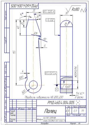 6.Деталь конструкции – палец (формат А4)