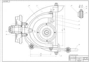 Чертеж сборочный передней подвески в масштабе 1:2, с указанными размерами для справок (формат А1)