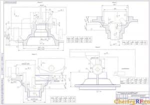 Схема механическая обработки чашки дифференциала автомобиля «КАМАЗ» по позициям: 1,2,3,4,5,6, с размерами, направлением вращения, положением резцедержателя (формат 2хА1)